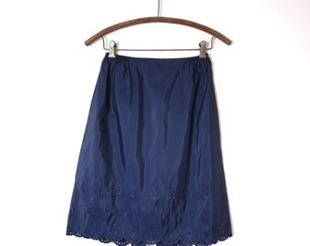 1960s Barbizon Oxford Blue Tafredda Petti Half Slip S Short