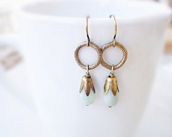 Gemstone Earrings, Small Brass Hoop Earrings, Nature Inspired, Antiqued Brass, Blue Green, Wire Wrapped, Petite Earrings, Dangle Earrings