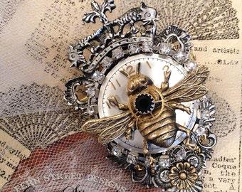 Steampunk Brooch,  Crest Shaped Brooch,  Queen Bee Brooch, Steampunk Bee,
