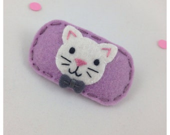 Felt Hair Clip Little Cat, Purple Hair Clip, Lavender Hair Clip, Light Purple Hair Clip, Girls Hair Clip