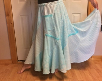 2X Baby Blue Boho Skirt with Pocket/Plus Size Skirt/Long Skirt/Bohemian Skirt/Festival Skirt/Hippie Skirt/Gypsy Skirt/Full Swing