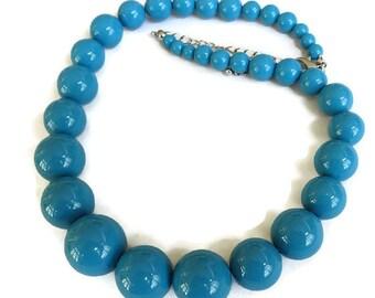 Blue Lucite Graduated Beads Necklace Vintage