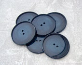 BiG Dark Blue Buttons 34mm - 1 1/4 inch Swirled Variegated Navy Blues - 6 7 VTG NOS Wafer Thin Glossy Plastic Sew Through Buttons PL357 bb