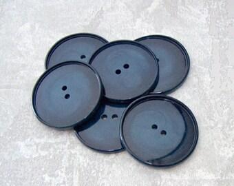 Dark Blue Buttons, 34mm 1-1/4 inch - Swirled Variegated Navy Blue Plastic Buttons - 6 VTG NOS Wafer Thin Glossy Blue Sewing Buttons PL357 bb