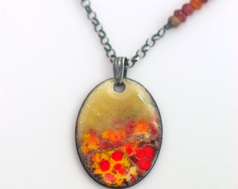 Bright Fall Color Pendant, Original Enameled Art Necklace, Ombre Tundra Sapphire Accents, Vitreous Enamel, Artisan Necklace, OOAK WillOaks