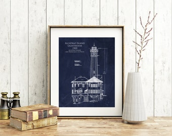Alcatraz Lighthouse Architectural Blueprint Art, lighthouse art, alcatraz blueprint, lighthouse blueprint, nautical decor, seaside beach