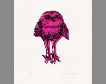 Burrowing Owl Print- Serigraph (Magenta)