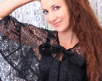 Black Lace Cape with Ruffles - Victorian Style Capelet - Gothic Fashion Wrap - Lots of Colors