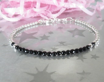 Onyx Layering Bracelet. Personalized Hand Stamped Initial Charm. Black Onyx Gemstone Jewelry with Sterling Silver Beads. Gracie Jewellery.