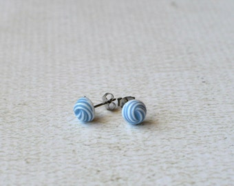 Blue and White Swirl Earring Posts- Vintage Titanium Earrings- Contains No Nickle- Great For Sensitive Ears