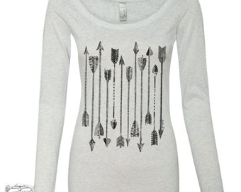 Womens ARROWS Long Sleeve Scoop Neck -  Tri Blend t shirt [+Colors] S M L XL XXL