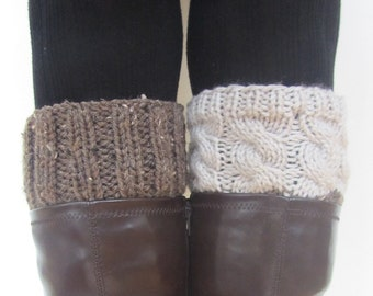 2 IN 1 -  REVERSIBLE Hand Knitted Boot Cuffs - 2 Colors, 2 Patterns - No Seam Line - 28 COLORS available