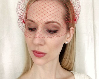 RED Birdcage Veil 9 inch Bandeau French Netting,Wedding Veil, Wedding Accessory, Bridal Veil, Wedding Accessory, Bridal Headpiece