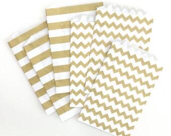 "12 Medium Flat Metallic Gold Chevron & Horizontal Stripes Paper Favor Bags . 5"" x 7.5"""