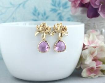 Lotus Flower Earrings Gold Lotus Dangle Earring Lilac Drop Earrings Bridal Earrings Lilac Purple Gold Wedding Bridesmaid Gift Lavender Lotus
