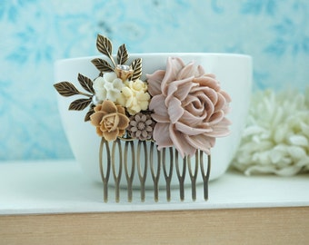 Shabby Dusty Pink Rose, Ivory, Brown, Leaf, Vintage Style Hair Comb. Bridesmaids Gift. Nature Ranch Country Wedding.