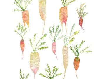 Pastel carrot original watercolor painting, Botanical garden vegetable art, Garden vegetable painting, Carrot painting, Kitchen art, Food