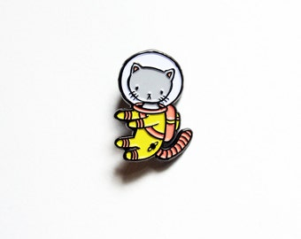 Yellow Space Kitty enamel pin - for all cat loving adventurers