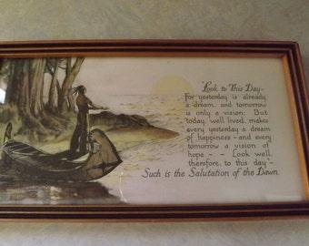 Vintage Framed Indian Poem by Kalidasa