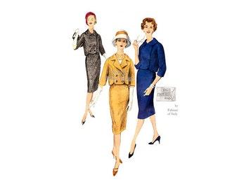 Vintage Vogue Couturier Pattern 177, Fabiani Womens Suit 1950s Sewing Pattern, Jacket & Slim Skirt, Label