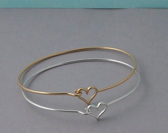 Sterling Silver or Gold Heart Bangle Bracelet / Layering bracelet / gold Heart bangle