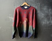 Mens Wool Sweater Crew Neck Woven Native American and Horse Figure in Burgundy Green Blue Abstract Design Size Large From Nowvintage