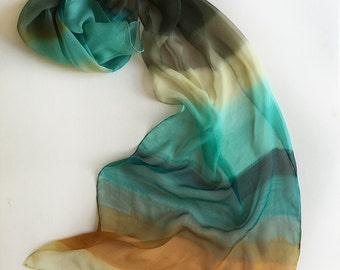 Hand painted silk chiffon scarf- Arctic Morrow/ Stripes scarf painted/ Boho style scarf/ Foam, ocher and petroleum scarf. Lightweight scarf