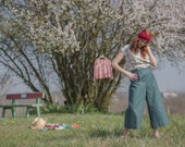 Last one -Cotton dark green Pant, wide leg, ankle lenght, summer pants, japanese style
