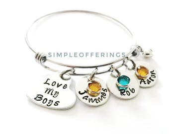 Love My Boys Mother Bracelet - Mom of Boys, Mom Bracelet, Gift for Mom, Name Bracelet, Mommy, Mother gift, Mommy Bracelet, Mother and son