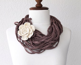Chunky Cowl Beige Jersey Scarf, Infinity Scarf, Loop Scarf, Neckwarmer, multistrand necklace