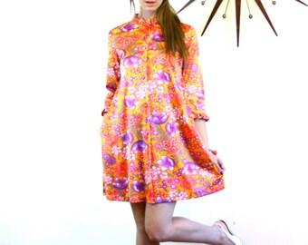Vintage 60s Floral Nightgown Bright Colorful Pink Orange Purple Flower Lingerie Short Button Robe Ruffle Nightie 1960s MAD MEN Loungewear