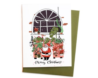 Santa's Greenhouse Christmas Card Boxed Set,  For the Gardener, Santa Claus Watering Plants in Greenhouse
