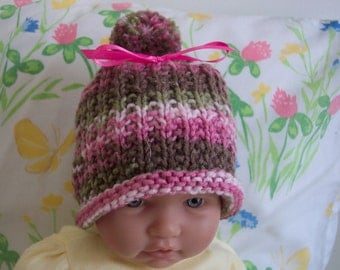 Pink Camo Camouflage Baby Hat cap Beanie 0-12M READY TO SHIP