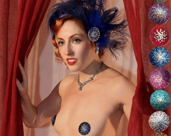 Ombre Burlesque Crystal Pasties In 8 Styles Gold Green Peach Blue Silver Red Teal Turquoise Purple Made to Order