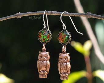 Brass Owl Dangle Earrings on Sterling Silver Wires, Rose Gold Copper Hue, Glitter Firey Opalescent Cabochons, Summerfall Collection