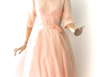 Vintage 60s Formal Dress Pale Peach Pink Chiffon Taffeta Short Sheath Dress w Long Wrap Skirt Wedding Prom Party Dress Size Small