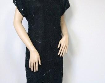 1980's Beaded Dress Laurence Kazar Silk Big Shoulder Mini Dress Tagged Size XL Size Small