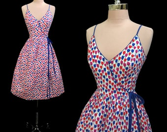 Vintage 1970s Does 1950s Lanz Colorful Tulips Cotton Wrap Dress XS