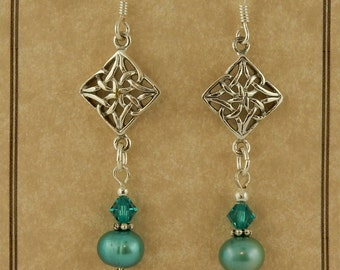 Sterling silver Celtic Knot Dangle earrings with Teal Freshwater pearls and Swarovski crystals