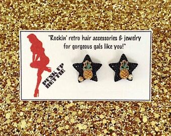 Pineapple Tropical Delight Earrings - Black - Retro - 50s - Pinup - Kitsch