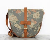 BALMAIN Leather PVC Floral Pastel Roses Satchel Shoulder Bag Pierre Balmain Paris Vintage