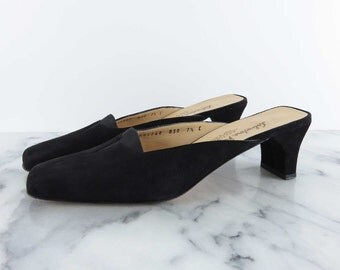 Salvatore Ferragamo Slides Suede Leather Loafers Black Slip On Backless Mules Shoes sz 7.5 C