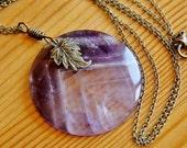 Amethyst pendant necklace, big chunky necklace, big bold pendant, large pendant, natural stone pendant, statement necklace, purple necklace