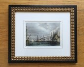 ANTIQUE BATTLE SHIP engraving - bombardment of odessa - framed hand colored engraving -  ready to hang