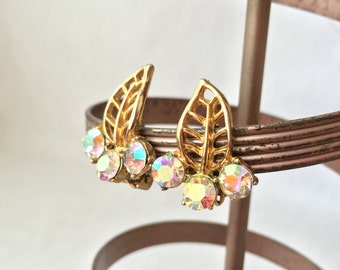 Aurora Borealis Earrings, Gold Leaf Earrings, Gold Earrings, Vintage Jewelry Earrings, Costume Gold Clip On Earrings, Rhinestone Earrings