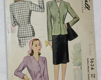 Size 18 Bust 36,Vintage 40s Button Front Jacket Sewing Pattern McCall 5624