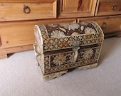 """GORGEOUS Vintage Large 19"""" Moroccan Hardwood Domed Chest Heavily Inlaid wHenna Dyed Camel Bone,Studded w/Red Coral & Rosettes"""