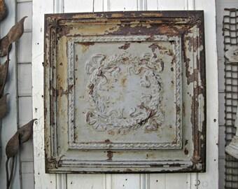 Antique Ceiling Tin Tile. Vintage Art Wall Decor. Old Chippy Paint. Texas Architectural salvage. Rustic primitive farmhouse decor.