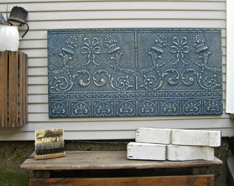 Antique Ceiling Tin Tile, Vintage architectural salvage, Large indigo blue wall decor, Metal wall art, Antique pressed ceiling tin.