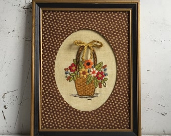 Framed Needlework, 1960s Embroidered Framed Basket Of Flowers Brown Calico